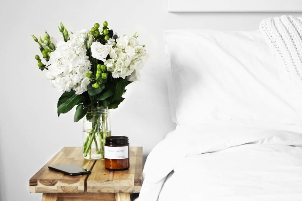 flowers and candle bedroom
