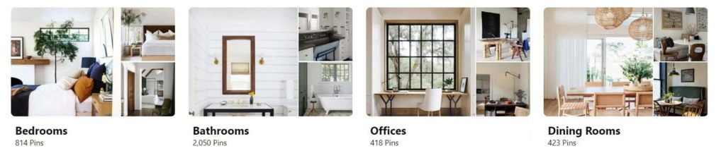 Mood board examples on Pinterest