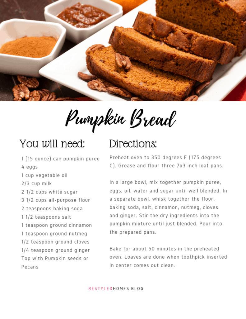 Pumpkin bread for fall