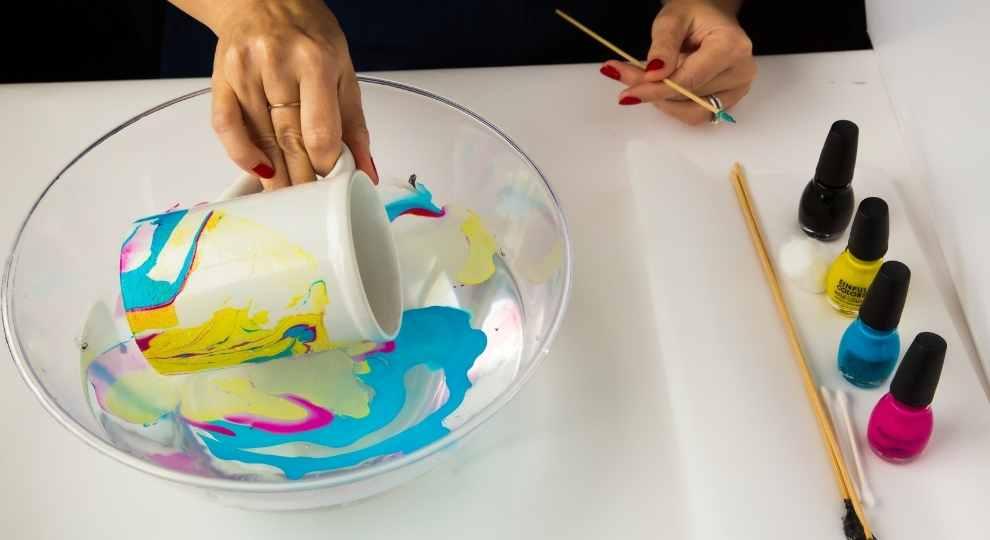 Process for DIY Marble Mugs